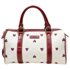 a837624e29d9 Gucci Boston Heart Monogram Joy 867269 White Coated Canvas Satchel. Gucci  White Guccissima Leather Treasure Boston Bag