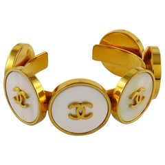 Chanel Vintage Cameo Coin Gold Toned Cuff Bracelet