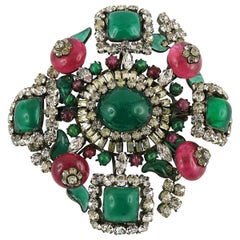 Magnificent Vintage Poured Glass Jewelled Massive Brooch Pendant