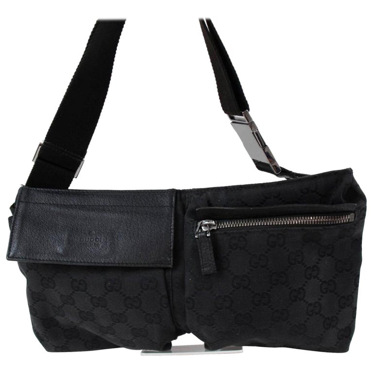 4be429577c10 Gucci Monogram Gg Fanny Pack Waist Pouch 867135 Black Coated Canvas  Shoulder Bag For Sale