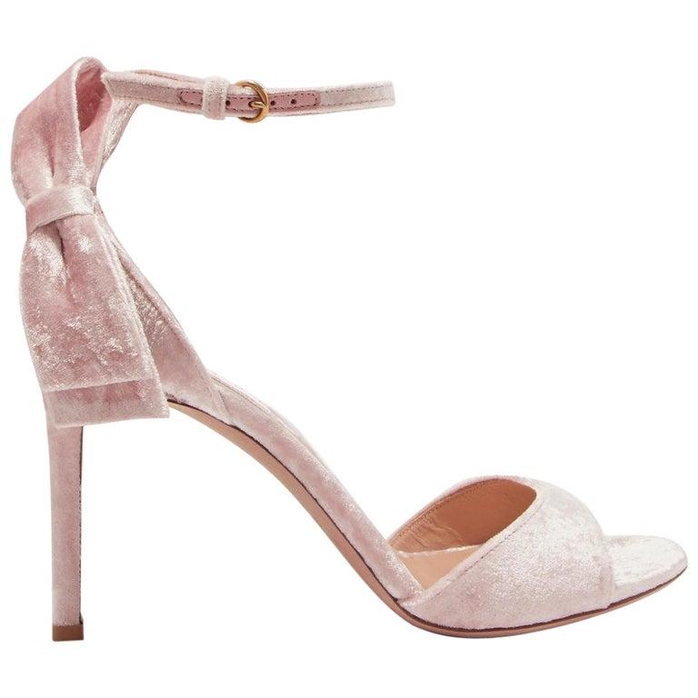 699e35d49178 Valentino Crushed-Velvet Bow Sandals For Sale at 1stdibs