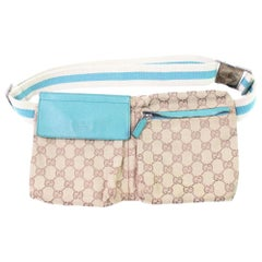 f80ed6d6d Gucci Torquoise Gg Waist Pouch Fanny Pack 867039 Beige Canvas Cross Body Bag