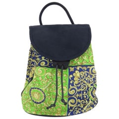 Versace Medusa Paisley Pattern 867046 Green Canvas Backpack