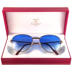 Vintage Cartier France Louis Vintage Heavy Gold Plated Diamonds 57mm Sunglasses