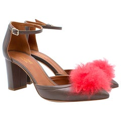 Malone Souliers Taupe Leather Pom Pom Pumps  UK 4.5
