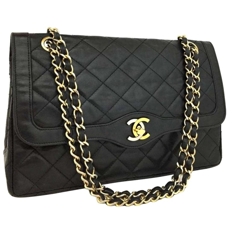 0dbe772e893523 Chanel Quilted Paris Two-tone Double Flap 866898 Black Leather Shoulder Bag  For Sale