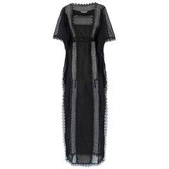 Charo Ruiz Black Lace-Trimmed Maxi Kaftan US 6
