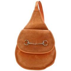 Gucci Horsebit Burnt 866966 Orange Suede Leather Shoulder Bag