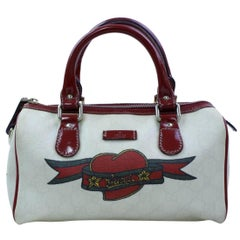 Gucci Boston Supreme Heart Tattoo Joy 866981 Ivory Coated Canvas Satchel