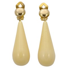 Pellini Gold Tone and Cream Tear Drop Clip On Statement Earrings, Italy 1980s