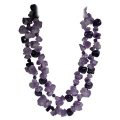 Unpolished Nuggets & Polished Amethyst 925 Sterling Silver Gemstone Necklace