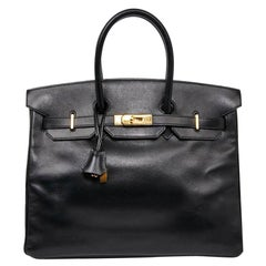 Iconic HERMES Birkin 35 in Black Box Leather