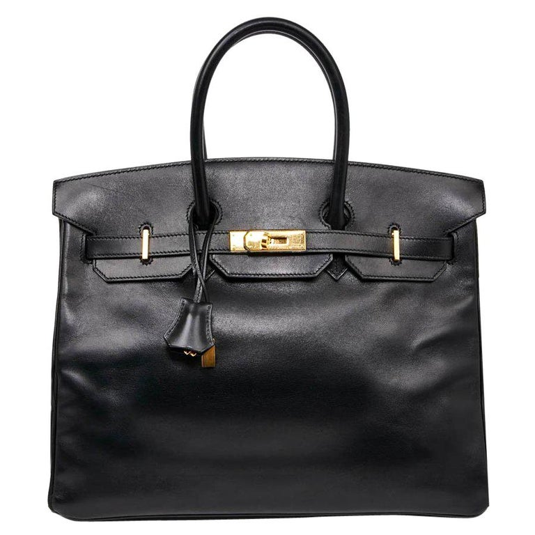 Iconic HERMES Birkin 35 in Black Box Leather For Sale