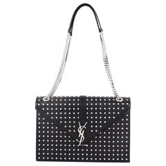 Saint Laurent Classic Monogram Envelope Satchel Studded Leather Large