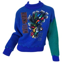 Kansai Yamamoto 1980s Riding Team Royal Blue Embroidered Novelty Wool Sweater