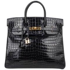 Hermes Birkin 32 Hac Bag Black Crocodile Lisse Gold Hardware