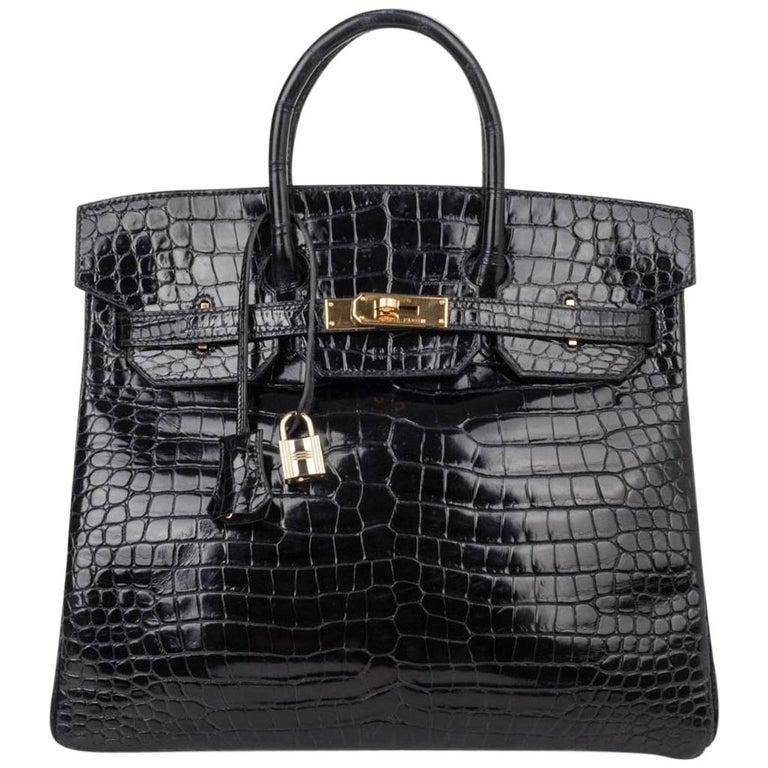 d4ae32d26113 Hermes Birkin 32 Hac Bag Black Crocodile Lisse Gold Hardware For Sale