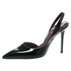 d2a7ef581704 Celine Black Leather D orsay Pointed Toe Slingback Sandals Size 37.5