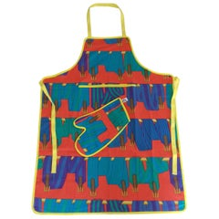 Hermès Cook's set of 2 pieces Les Sangles Pattern Apron and Oven Mitt In Box