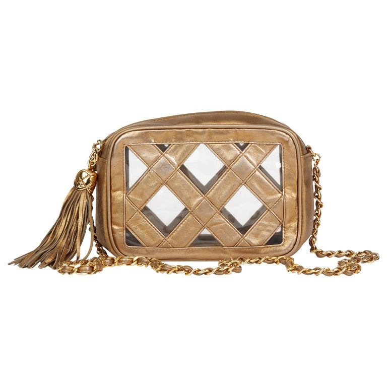 340e1f2d6b 1990 Chanel Gold Metallic Lambskin & PVC Vintage Naked Camera Bag For Sale