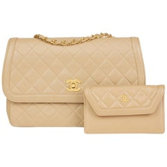 1990 Chanel Beige Quilted Lambskin Vintage Classic Single Flap Bag with Wallet
