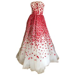 ccf93941a66 Oscar de la Renta White Tulle Polka Dot Evening Gown in Hard to Find Size 12