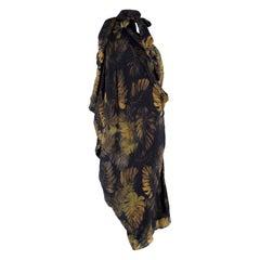 Lanvin Silk Black Leaf Print Kaftan Dress US 4