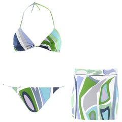 Emilio Pucci Multi-Coloured Printed Bikini & Skirt Set S