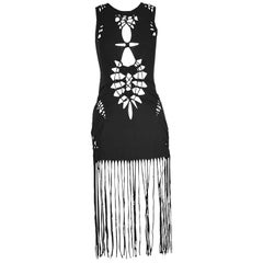 Jean Paul Gaultier Black Jersey Macrame Fringed Mini Runway Dress, Spring 2001