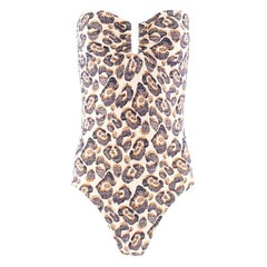 Eres Abstract Leopard Print Bandeau Swimsuit XS