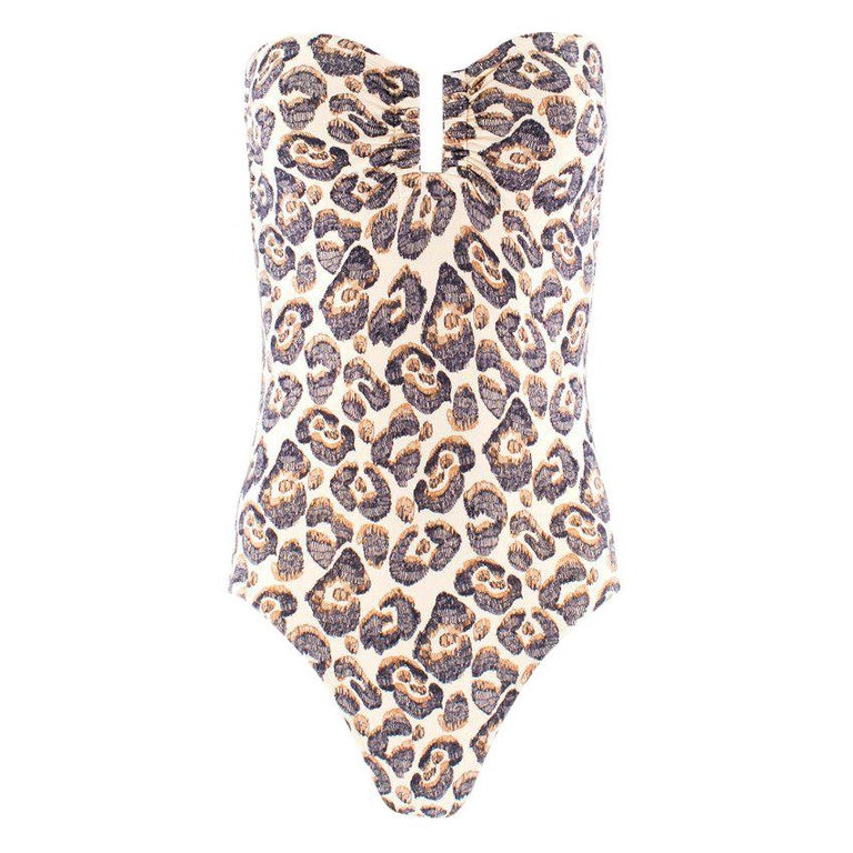 26f335c72346 Eres Abstract Leopard Print Bandeau Swimsuit XS For Sale at 1stdibs