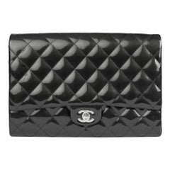 2012 Chanel Black Quilted Patent Leather Clutch-on-Chain