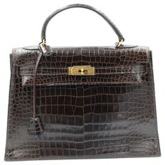 Hermes Vintage Brown Kelly Croco 32.