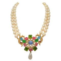 Circa 1950's Vintage Chanel Baroque Pearl Necklace with Gripoix Stones