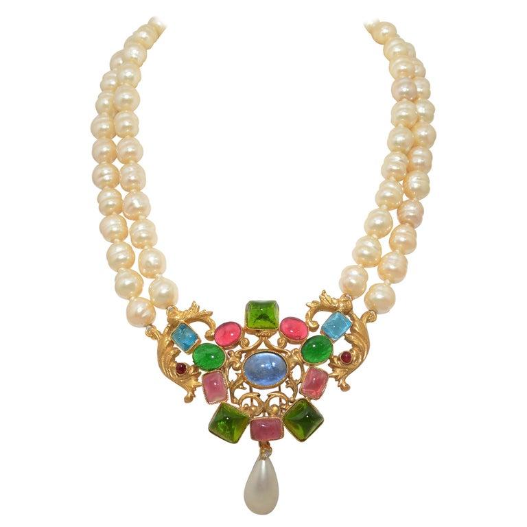 e1073043b10c8 Circa 1960-1970's Vintage Chanel Baroque Pearl Necklace with Gripoix Stones