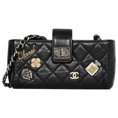 Chanel 2015 Black Calfskin Leather Lucky Charms Phone Crossbody Bag