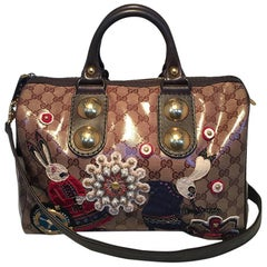 09fd24fb23fe Limited Edt Gucci GG Coated Canvas Babouska Fable Boston Bag