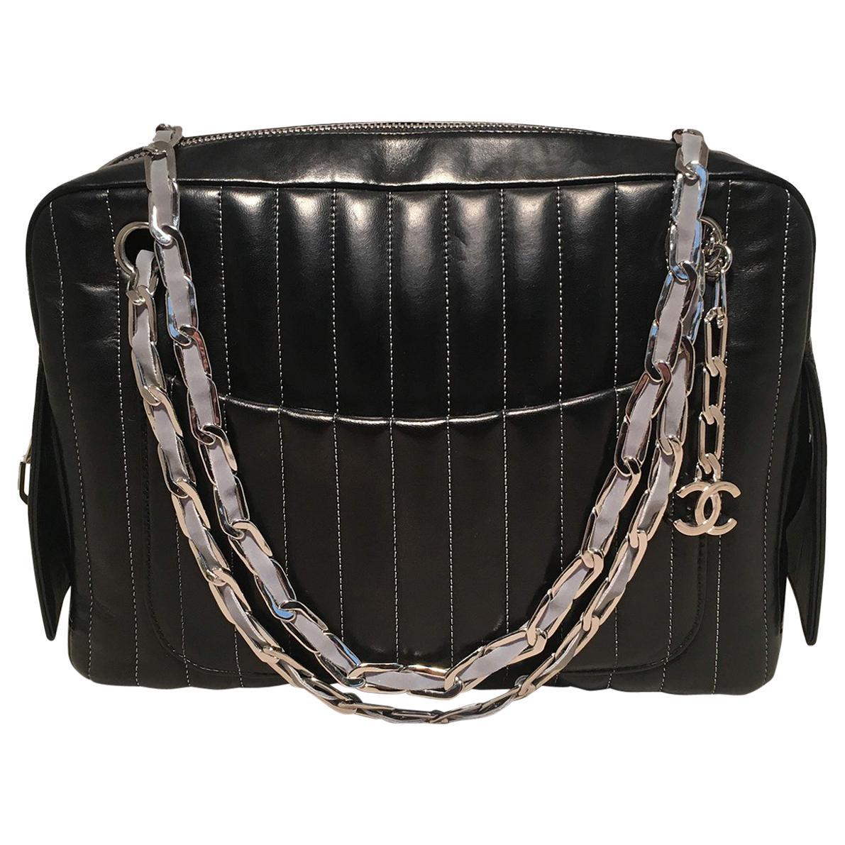 Chanel Mademoiselle Ligne Vertical Quilted Black Leather Camera Bag