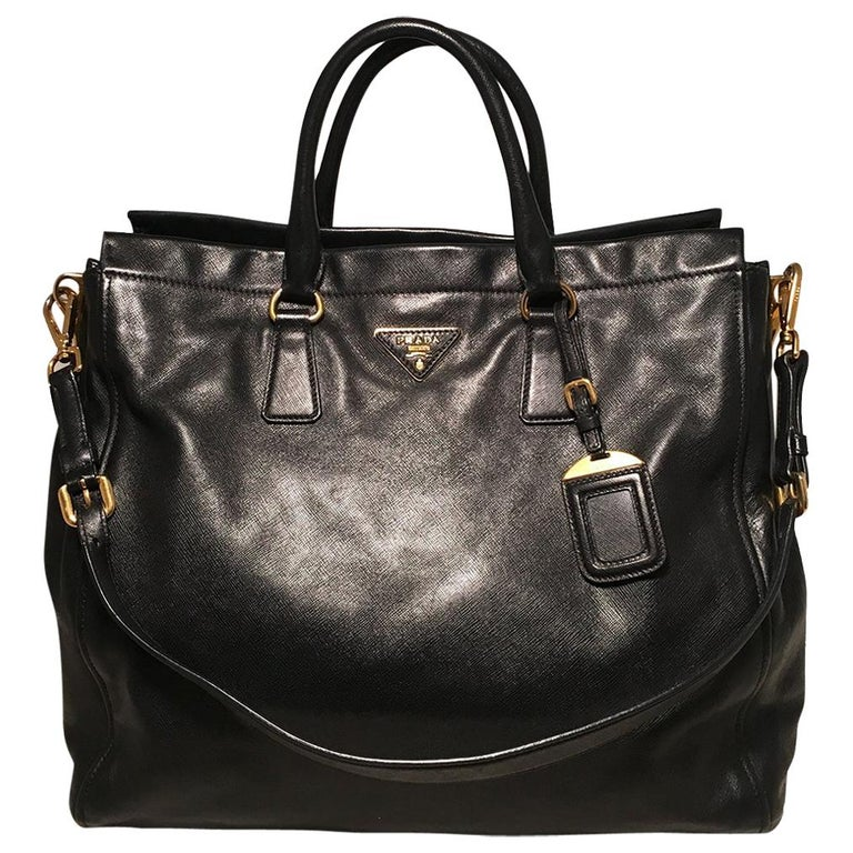 2a83a7832a7628 Prada Black Leather Saffiano Top Handle Tote Shoulder Bag For Sale ...