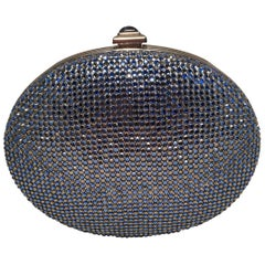Judith Leiber Blue Crystal Minaudiere Evening Bag Clutch