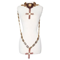 Gianni Versace Crystal Cross Heart Necklace Chain Belt 1990's