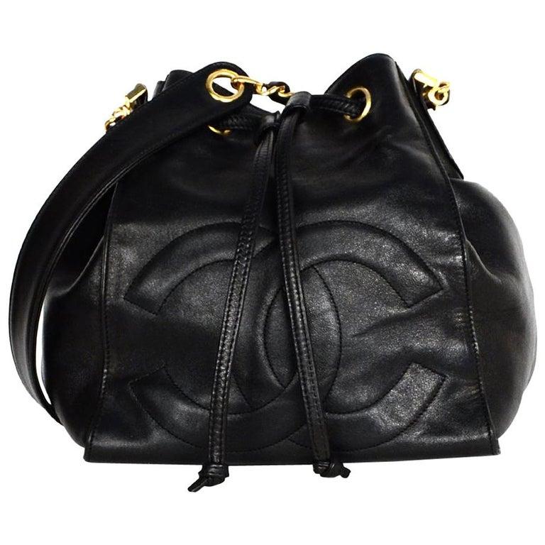 3c1f21f4b18c Chanel Vintage Black Lambskin Leather CC Bucket Crossbody Bag W/ Insert For  Sale