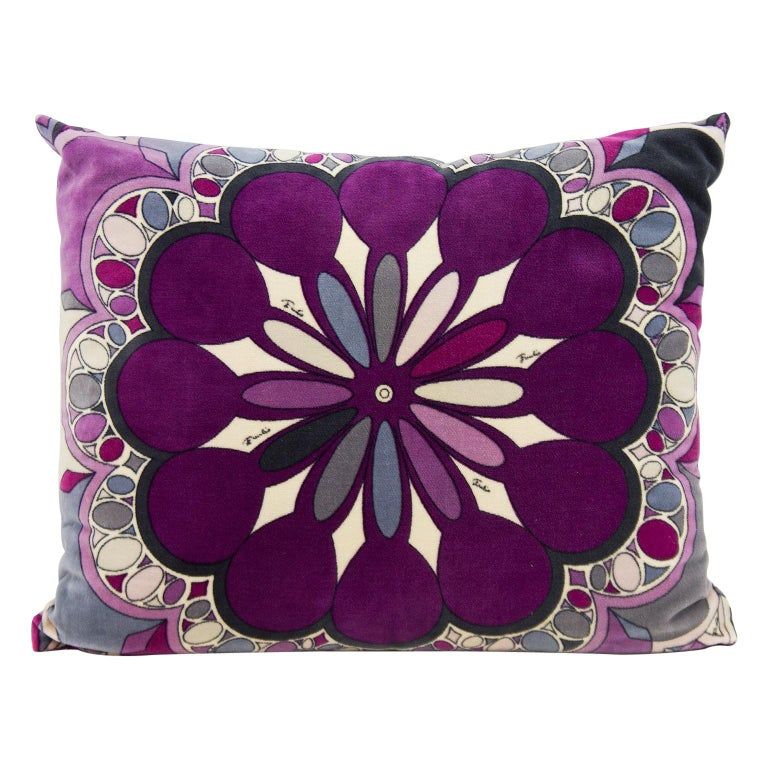 Emilio Pucci purple velvet printed pillow, 1960s, offered by VintageCouture