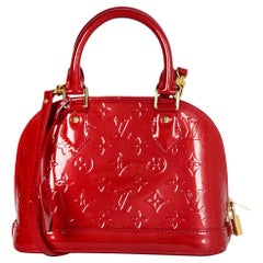 Louis Vuitton Pomme d'Amour Red Monogram Vernis Alma BB Bag W/ Crossbody Strap