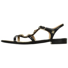 4c08d9ed83c Chanel Black Leather Strappy Sandals W  Goldtone Chain   CC Star Detail Sz  38.5