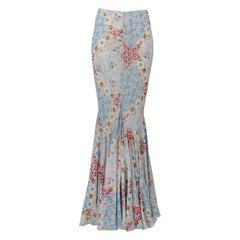 Vintage Christian Dior Multi-Color Floral Patchwork Print Skirt