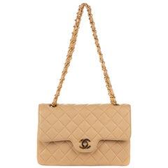 Chanel Timeless Beige Lambskin Leather Shoulder Bag