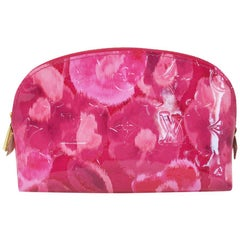 Louis Vuitton Pink Red Floral Pochette Cosmetic Pouch