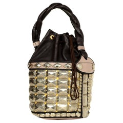 Fendi Brown/Taupe Leather Palazzo Bucket Bag W/ Antiqued Silvertone Studs
