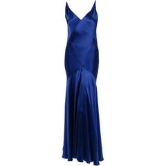 1930's Hattie Carnegie Couture Sapphire-Blue Silk Satin Backless Bias-Cut Gown